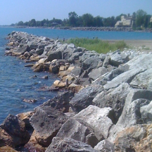 The rocks at Southport beach in Kenosha on Lake Michigan